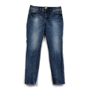 J Crew Factory Distressed Stadium Wash Skinny Jean